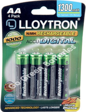 LLoytron AA 1300 mAh NiMH Rechargeable Batteries. 4 Pack