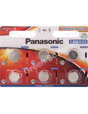 Panasonic CR2032 3 Volt Lithium Coin Cell Battery (DL2032). 6 Pack