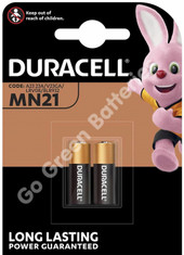 Duracell A23 12 Volt Alkaline Security Battery (23A, MN21, LRV08). 2 Pack