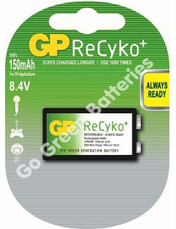 GP Recyko 9 Volt PP3 155 mAh NiMH Rechargeable Battery. 1 Pack