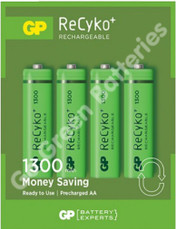 GP Recyko AA 1300 mAh NiMH Rechargeable Batteries, 4 Pack