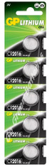 GP CR2016 3V Lithium Coin Cell Battery. 5 Pack