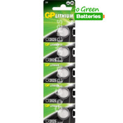 GP CR2025 3 Volt Lithium Coin Cell Battery. 5 Pack