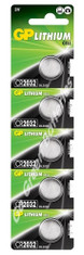 GP CR2032 3 Volt Lithium Coin Cell Battery. 5 Pack