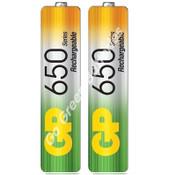 GP AAA 650 mAh NiMH Rechargeable Batteries. 2 Batteries