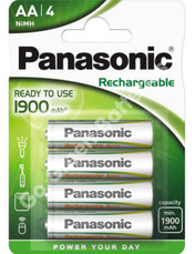 Panasonic AA Ready to Use 1900 mAh NiMH Rechargeable Batteries, Pre Charged. 4 Pack