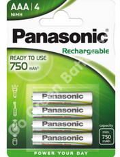 Panasonic AAA Ready to Use 750 mAh NiMH Rechargeable Batteries. Stays Charged.  4 Pack