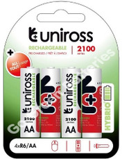 Uniross Hybrio AA 2100 mAh NiMH Rechargeable Batteries, Pre Charged.  4 Pack