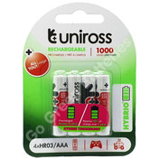 Uniross AAA 1000 mAh NiMH Rechargeable Batteries. 4 Pack