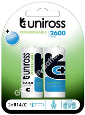 Uniross C 2600 mAh NiMH Rechargeable Batteries (HR14). 2 Pack