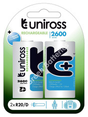 Uniross D 2600 mAh NiMH Rechargeable Batteries (HR20). 2 Pack