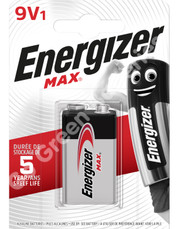 Energizer 9V PP3 Max Power Alkaline Batteries. LR22, MN1604, 6LR61. 1 Pack