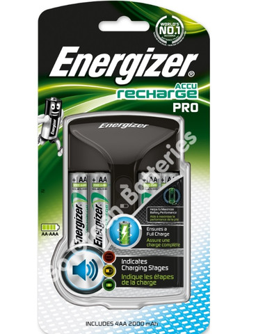 Energizer Pro Charger + 4 x AA 2000 mAh Rechargeable Batteries