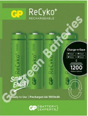 GP Recyko AA 1000 mAh NiMH Rechargeable Batteries, Pre/Stay Charged. 4 Pack