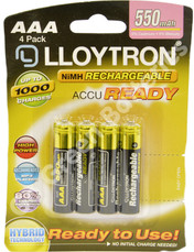 LLoyton AAA 550 mAh Ac Ready NiMH Rechargeable Batteries  4 Pack Pre charged
