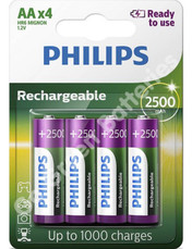 Philips AA 2500 mAh NiMH Rechargeable Batteries, Stay Charged. 4 Pack