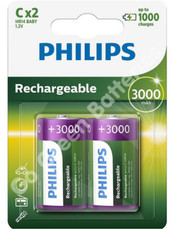 Philips C 3000 mAh NiMH Rechargeable Batteries (HR14). 2 Pack
