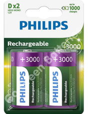 Philips D 3000 mAh NiMH Rechargeable Batteries (HR20). 2 Pack