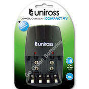 Uniross Compact Wall Charger for AA / AAA /9V PP3 NiMH Rechargeable Batteries