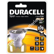 Duracell GU10 5.3 Watt LED Spotlight. 370 Lumens (Frosted/Warm White)