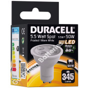 Duracell GU10 5.5 Watt LED Spotlight. 345 Lumens (Frosted/Warm White)