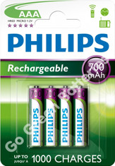 Philips AAA 700 mAh NiMH Rechargeable Batteries
