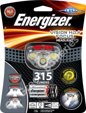 Energizer Vision HD+ Focus LED Headlight Hands Free Headtorch 315 Lumens Headlamp