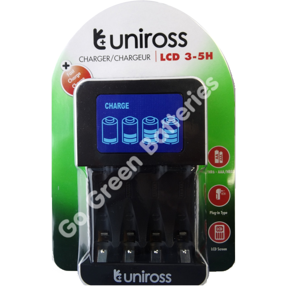 Uniross LCD Fast Intelligent Wall Charger For AA AAA NiMH Rechargeable Batteries