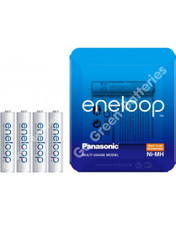 Panasonic Eneloop AAA 750 mAh Rechargeable Batteries, Pre-charged, Previously Sanyo. SLIDER 4 Pack