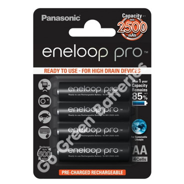 Panasonic Eneloop PRO AA 2500 mAh Rechargeable Batteries, Pre-charged