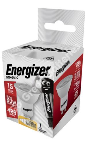 Energizer GU10 6.2 Watt LED Spotlight. 425 Lumens. Equivalent - 60W S9405