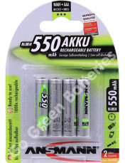Ansmann AAA 550 mAh RTU Stay Charged NiMH Rechargeable Batteries  4 Pack