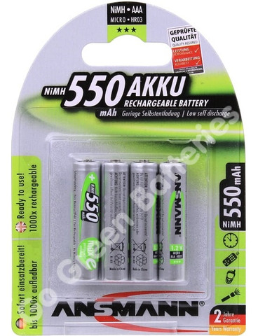 Ansmann AAA 550 mAh RTU Stay Charged NiMH Rechargeable Batteries