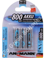 Ansmann AAA 800 mAh RTU Stay Charged NiMH Rechargeable Batteries  4 Pack