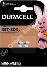 Duracell 357/303 1.5V Silver Oxide Watch Battery. 2 Pack