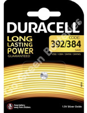 Duracell 392/384 1.5V Silver Oxide watch battery. 1 Pack