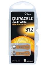 Duracell Hearing Aid Batteries Size 312 Mercury Free Zinc Air. Pack of 6.