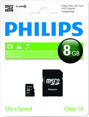 Philips 8GB Micro SD HC Memory Card, Class 10, with adapter. 1 Pack