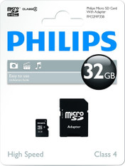 Philips 32GB MicroSD HC Memory Card, Class 4, with adapter. 1 Pack