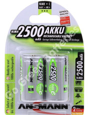 Ansmann C 2500 mAh RTU Stay Charged NiMH Rechargeable Batteries (HR14). 2 Pack