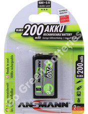 Ansmann 9 Volt PP3 200 mAh NiMH Rechargeable Battery, Stay Charged (HR22). 1 Pack