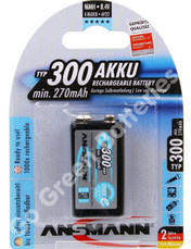 Ansmann 9 Volt PP3 300 mAh (min 270mAh) NiMH Rechargeable Battery, Stay Charged (HR22). 1 Pack