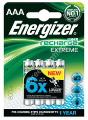 Energizer AAA 800 mAh 1.2 Volt NiMH Rechargeable Batteries x 4 (1 Pack)