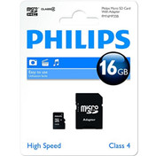 Philips 16GB Micro SD (SDHC) Memory Card, Class 4, with full size SD adapter