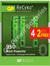 GP Recyko AAA 950 mAh Rechargeable Batteries, Pre-charged and Stay Charged