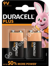 Duracell Alkaline Plus Power 9V Single Use Battery Twin Pack