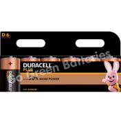 Duracell D Size Plus Power Alkaline Batteries (LR20) 6 Pack
