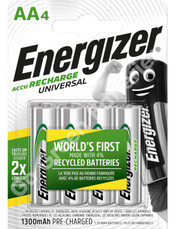 Energizer AA 1300 mAh NiMH Universal Rechargeable Batteries. 4 Pack