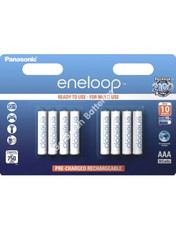 Panasonic Eneloop AAA 750 mAh Rechargeable Batteries, Pre-charged, Previously Sanyo. 8 Pack