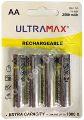 Ultra Max AA 2500 mAh NiMH Rechargeable Batteries. 4 Pack